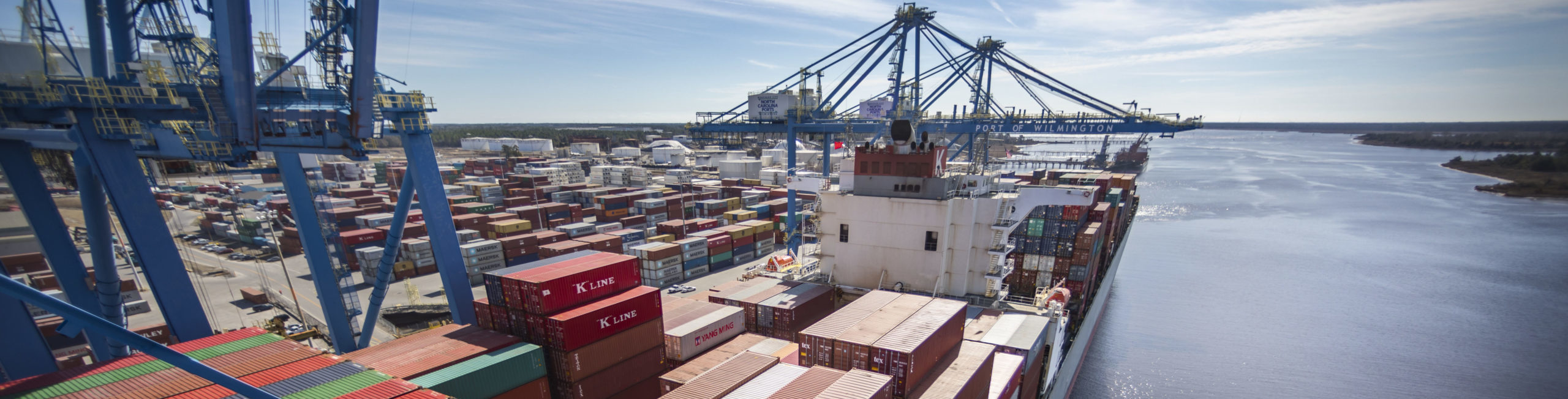 Aerial of freight container vessel in Port of Wilmington