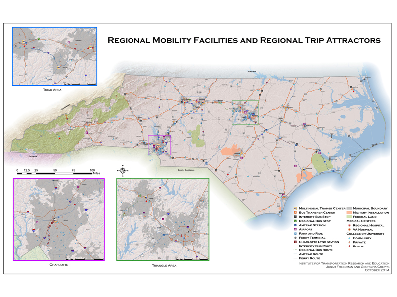 Map of Regional Mobility Facilities and Regional Trip Attractions