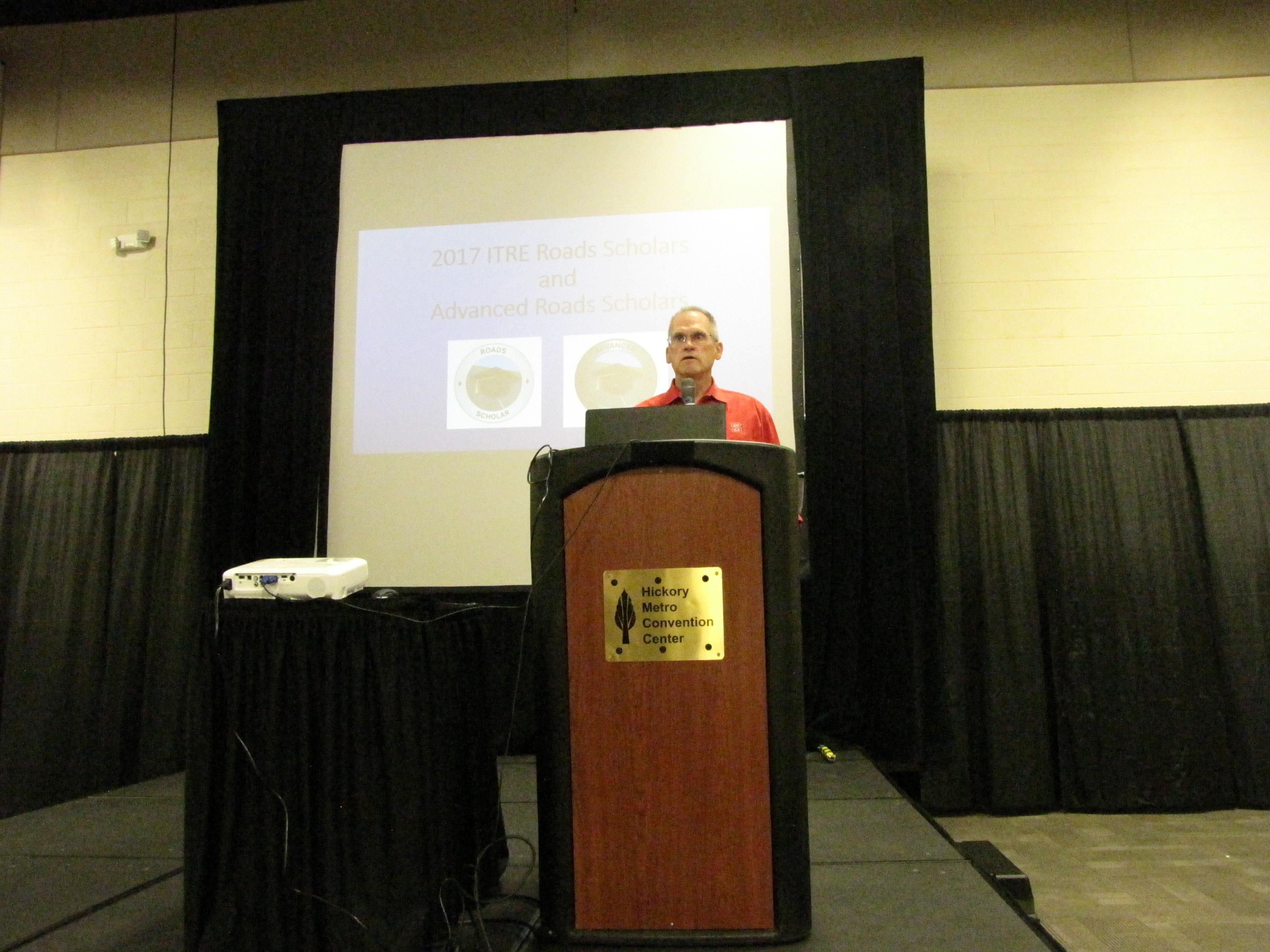James Martin presenting at the 2017 Roads Scholar Graduation ceremony