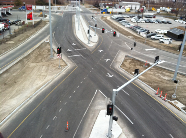 aerial of diverging diamond road intersection