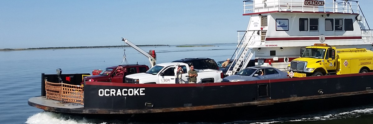 Ocracoke Island Ferry loaded with cars