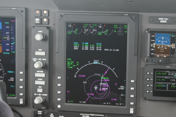 Aircraft sensors and dials from inside the cockpit