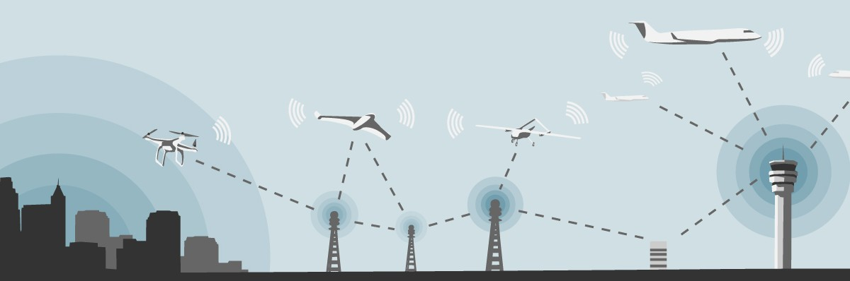 Vector illustration of various aircrafts demonstrating inter-aircraft communications