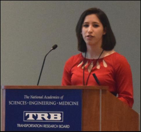 woman at a podium presents at TRB