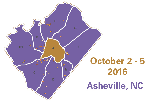 "A brown and purple map of Asheville, divided by counties with dots scattered in the purple sections. Text reads ""October 2 - 5 2016 Asheville, NC"""