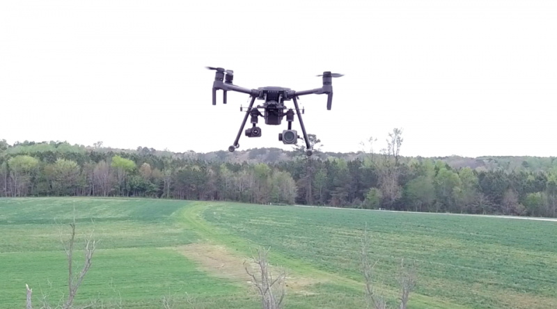 UAS flying over an empty field