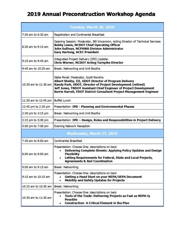 NCDOT 2019 Annual Preconstruction Workshop Agenda : Institute for