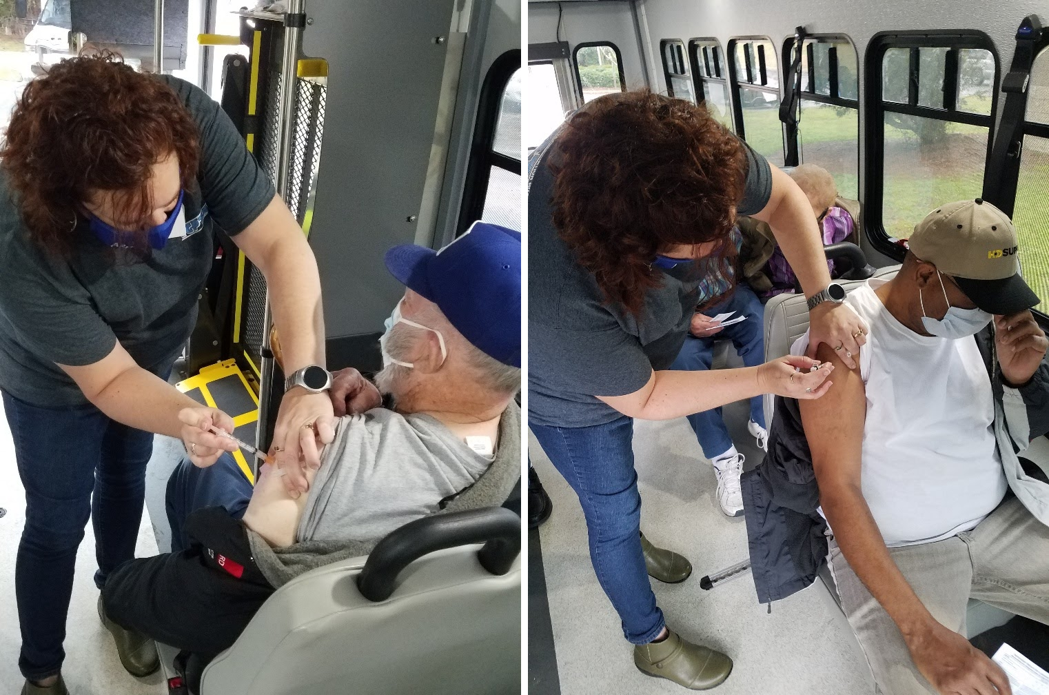 Customers of the Inter-County Public Transportation Authority (ICPTA), based in Elizabeth City, NC, receiving COVID-19 vaccine doses on ICPTA public transportation vehicles.